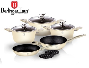 Cookware Set BERLINGER HAUS METALLIC LINE ECRU 10 pcs [BH-1221]