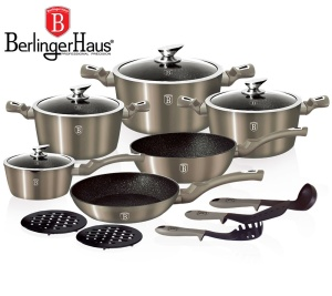 Cookware Set BERLINGER HAUS METALLIC LINE CARBON 15 pcs [BH-1223-N]