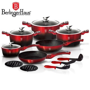 Cookware Set BERLINGER HAUS METALLIC BLACK BURGUNDY LINE 15 pcs [BH-1632-N]