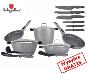 Cookware Set BERLINGER HAUS GRANIT DIAMOND GRAY 17 pcs [BH-1118-6]
