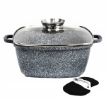 Square pot with glass lid 20cm 2.5L Roaster Marble coating BRUNBESTE BB-1927