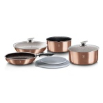 9 Pieces Marble Coating Cookware Set CLICK & COOK BERLINGER HAUS METALLIC LINE ROSE GOLD BH-6147