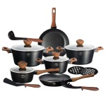15-Piece Marble Coating Cookware set BERLINGER HAUS EBONY ROSE WOOD BH-1537