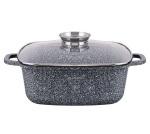 Granite square Pot 28cm 6.5L with glass lid EDENBERG EB-8003