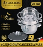 Cookware Set for steam cooking / Steamer 4 pcs 24cm EDENBERG [EB-8908]