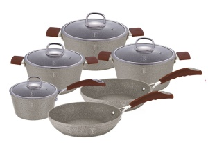 Cookware Set BERLINGER HAUS BEIGE STONE TOUCH 10 pcs [BH-1171]