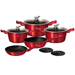 Cookware Set BERLINGER HAUS METALLIC LINE RED 10 pcs [BH-1222]