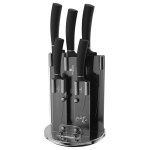 6 pcs Knive set with stand, Berlinger Haus Black Royal Collection, BH-2382