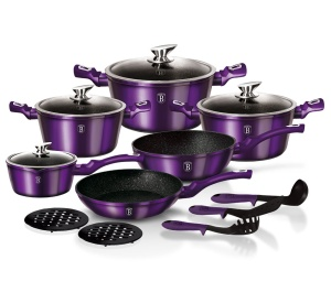 15 pcs Cookware Set BERLINGER HAUS METALLIC ROYAL BLUE LINE [BH-1662-N]