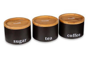 Set of 3 Food Containers for coffee, tea, sugar HUSLA 73942