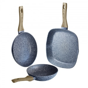 3-Piece Marble Coating Fry & Grill Pan Set BERLINGER HAUS Maple BH-1568