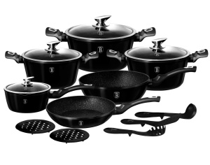 15-pcs Cookware Set Granite Coating Induction BERLINGER HAUS Metallic Line Shiny Black BH-1664