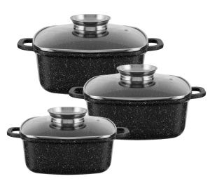 6 piece Set of 3 square pots 2,5L / 4,5L / 6.5L FRICO FR-4415
