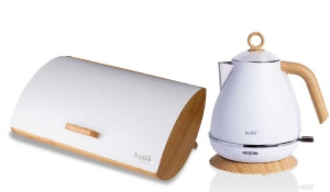 2 in 1 set Bamboo Bread Bin + Electric Kettle HUSLA 73931-901