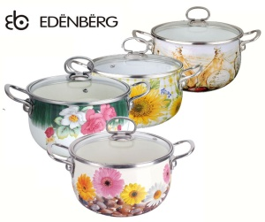Pot Enamel coated 2.3L EDENBERG FLOWERS [EB-1781]