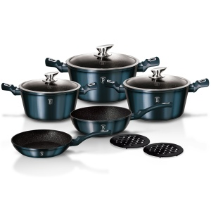 10 pcs Cookware Set BERLINGER HAUS METALLIC AQUAMARINE  [BH-1884]