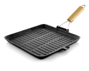 Cast Iron Grill Pan with Folding Wooden Handle 28 x 28cm SAPIR Volcano SP-4616-A28