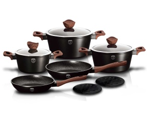 10-Piece Marble Coating Cookware set BERLINGER HAUS EBONY ROSE WOOD BH-1534
