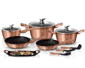 Cookware Set BERLINGER HAUS METALLIC LINE ROSE GOLD 12 pcs [BH-1696]