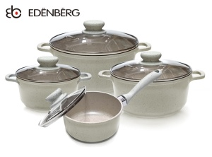 Cookware Set with non-stick Marble coating EDENBERG CREME 8 pcs [EB-9182]