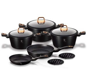 Cookware Set BERLINGER HAUS BLACK ROSE LINE 10 pcs [BH-1645-N]