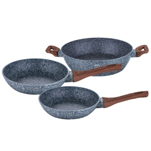 3-Piece Marble Coating Frypan Set BERLINGER HAUS Forest Line BH-1216