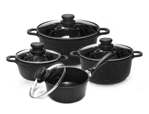 8-piece Cookware Set with non-stick Granite coating EDENBERG BLACK 8 EB-9180