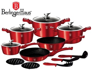 Cookware Set BERLINGER HAUS METALLIC BURGUNDY LINE 15 pcs [BH-1226-N]
