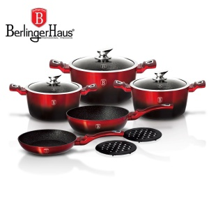 Cookware Set BERLINGER HAUS METALLIC BLACK BURGUNDY LINE 10 pcs [BH-1631-N]