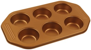 Steel Baking Tray w/non-stick coating Muffin x6 KLAUSBERG Copper | KB-7375