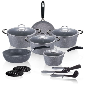 15 piece Cookware Set BERLINGER HAUS GRAY STONE TOUCH BH-1173-N