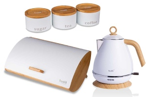 3-in-1 set Bamboo Bread Bin + Electric Kettle + Containers  HUSLA 73931-90141