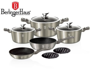 Cookware Set BERLINGER HAUS METALLIC LINE CARBON 10 pcs [BH-1219-N]