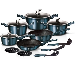 15 pcs Cookware Set BERLINGER HAUS METALLIC AQUAMARINE  [BH-1885]