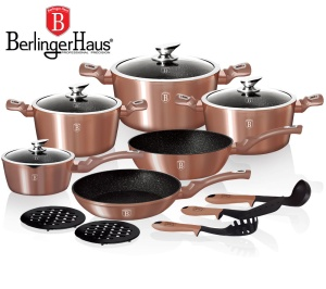 Cookware Set BERLINGER HAUS METALLIC LINE ROSE GOLD 15 pcs [BH-1224-N]