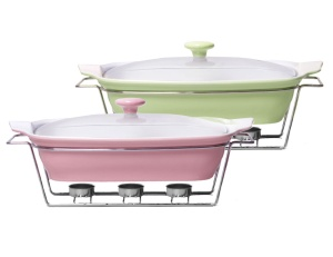Heat Resistant Dish 2.3L with lid and heater 2 colors KAMILLE KM-6406