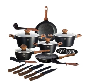 20-Piece Marble Coating Cookware set BERLINGER HAUS EBONY ROSE WOOD BH-1537-08
