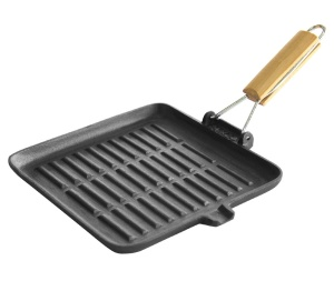 Cast Iron Grill Pan with Folding Wooden Handle 24 x 24cm SAPIR Volcano SP-4616-A24