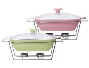Heat Resistant Dish 1.4L with lid and heater 2 colors KAMILLE KM-6405