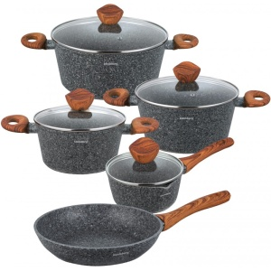 Cookware Set with non-stick Granite coating WOOD LINE 9 pcs KLAUSBERG [KB-7241]